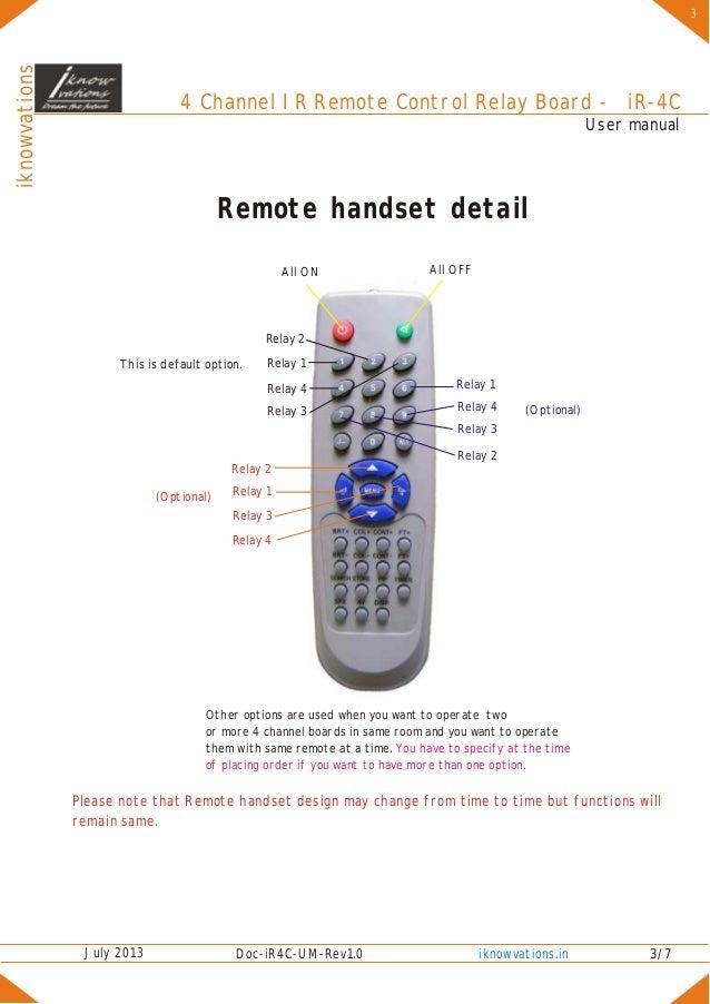 ir 4c 4 channel ir remote control relay board user manual 3 2013 3 7iknowvations in iknowvations user manual remote