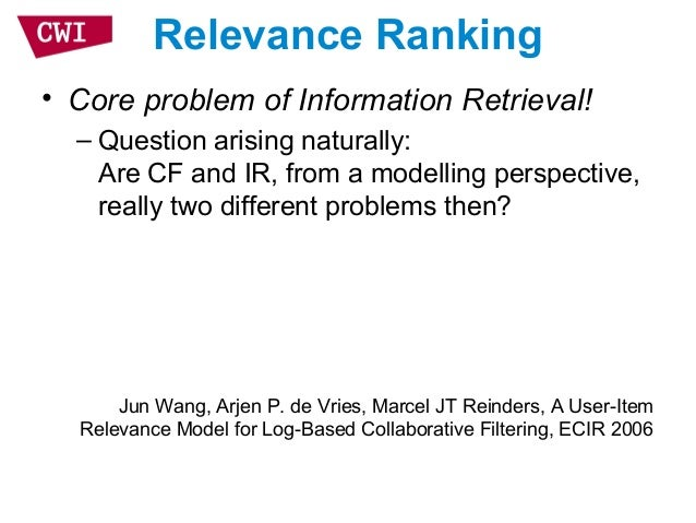 Recommendation And Information Retrieval Two Sides Of The Same Coin