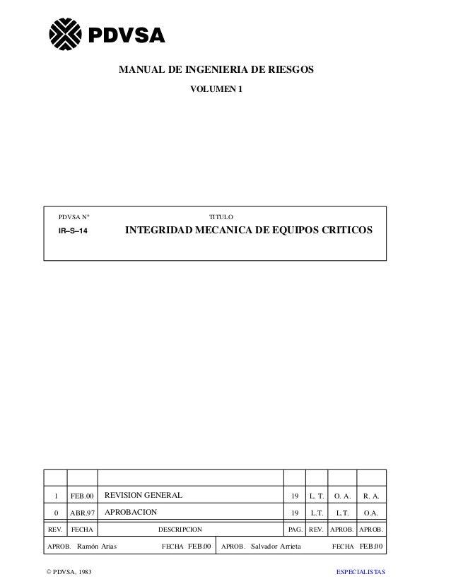 PDVSA N° TITULO REV. FECHA DESCRIPCION PAG. REV. APROB. APROB. APROB. FECHAAPROB.FECHA VOLUMEN 1 E PDVSA, 1983 IR–S–14 INT...