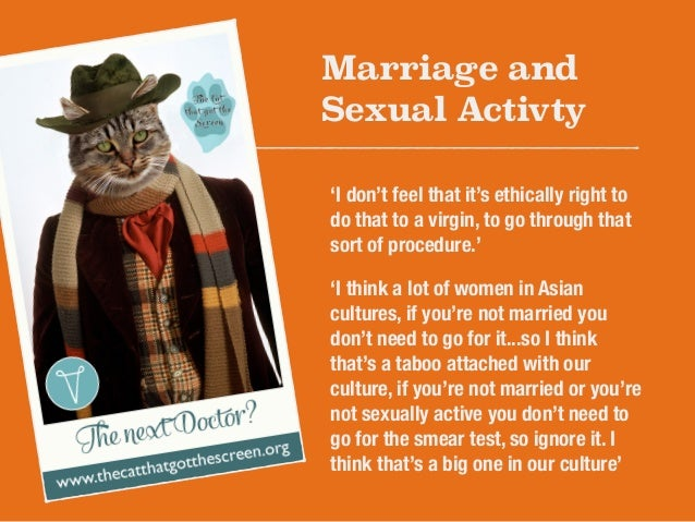 Marriage and  Sexual Activty  'I don't feel that it's ethically right to  do that to a virgin, to go through that  sort of...
