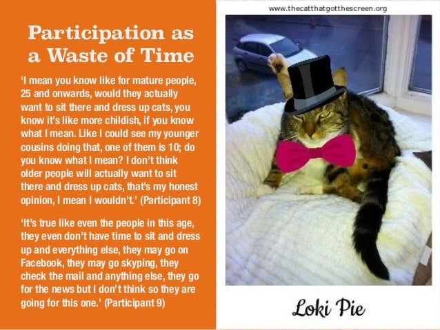 Participation as  a Waste of Time  'I mean you know like for mature people,  25 and onwards, would they actually  want to ...