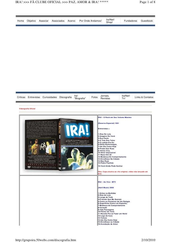 IRA! >>> FÃ CLUBE OFICIAL >>> PAZ, AMOR & IRA! *****                                                                      ...