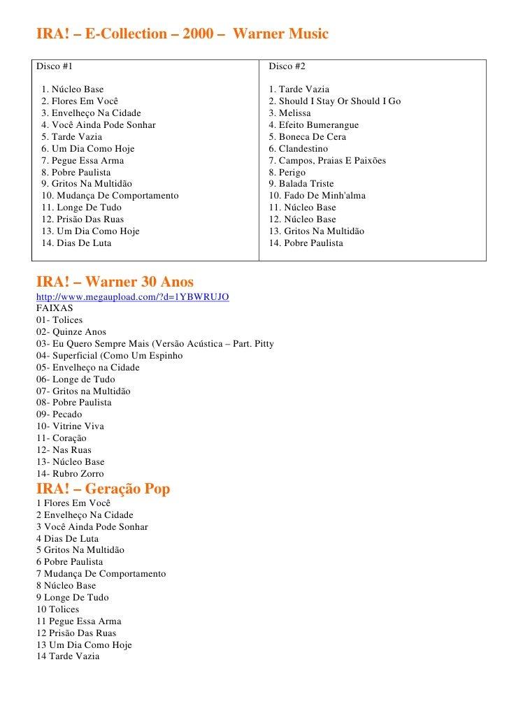 IRA! – E-Collection – 2000 – Warner MusicDisco #1                                             Disco #2 1. Núcleo Base     ...