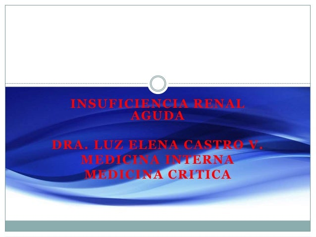 INSUFICIENCIA RENAL AGUDA DRA. LUZ ELENA CASTRO V. MEDICINA INTERNA MEDICINA CRITICA