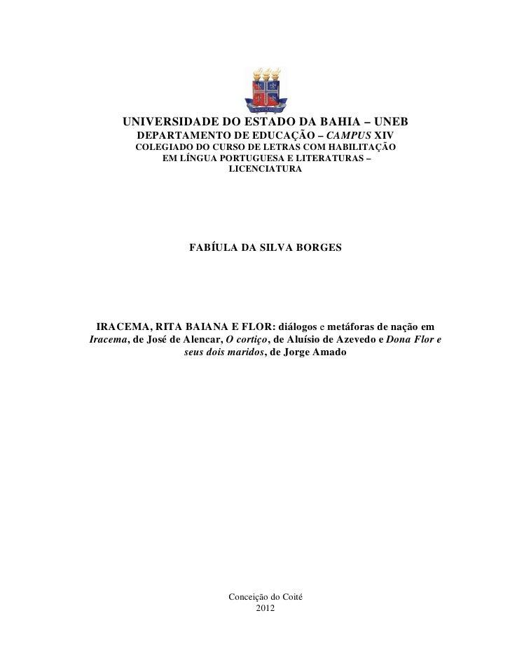 UNIVERSIDADE DO ESTADO DA BAHIA – UNEB          DEPARTAMENTO DE EDUCAÇÃO – CAMPUS XIV         COLEGIADO DO CURSO DE LETRAS...