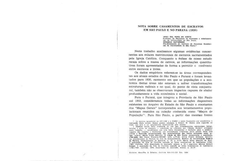 Iraci Costa & Horacio Gutiérrez - Nota sobre casamentos de escravos (SP-PR, 1830)
