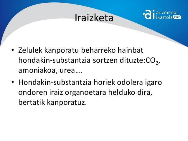 Iraizketa• Zelulek kanporatu beharreko hainbat  hondakin-substantzia sortzen dituzte:CO2,  amoniakoa, urea….• Hondakin-sub...