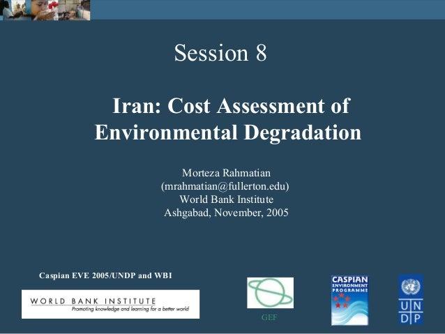 Iran Cost Assessment Of Environmental Degradation