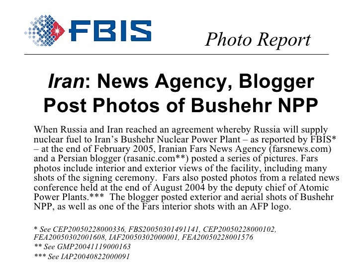 Iran : News Agency, Blogger Post Photos of Bushehr NPP When Russia and Iran reached an agreement whereby Russia will suppl...