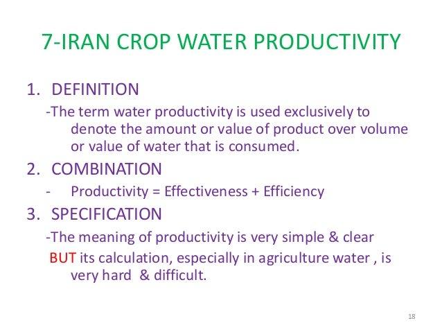 Crop Water Productivity in Iran, N. RIAZI