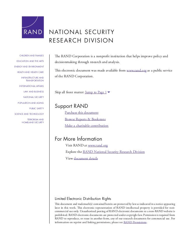 For More Information Visit RAND at www.rand.org Explore the RAND National Security Research Division View document details...