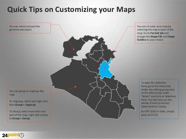 Iraq Map PPT Slide