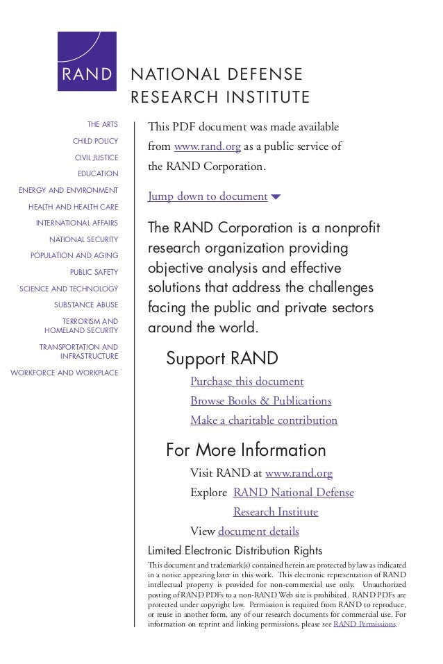 THE ARTS  This PDF document was made available  CHILD POLICY  from www.rand.org as a public service of  CIVIL JUSTICE EDUC...