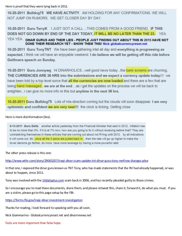 Iraqi Dinar Guru Scam Investigation - Case 1:15-cv-02032-LMM - FBI Warning Slide 2