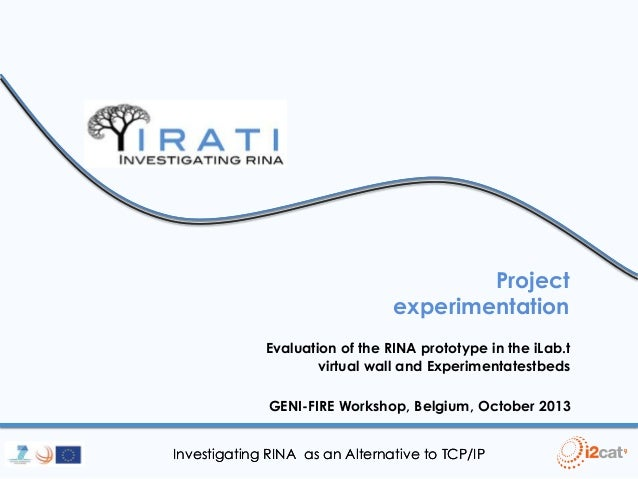 Project experimentation Evaluation of the RINA prototype in the iLab.t virtual wall and Experimentatestbeds  GENI-FIRE Wor...