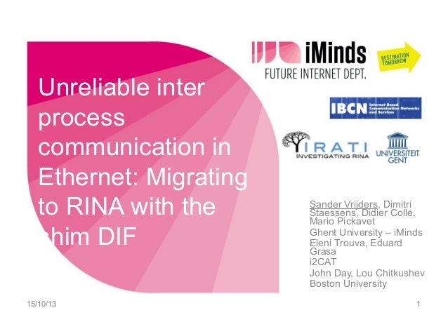 Unreliable inter process communication in Ethernet: Migrating to RINA with the shim DIF 15/10/13  Sander Vrijders, Dimitri...