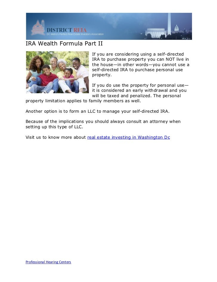 IRA Wealth Formula Part II                               If you are considering using a self-directed                     ...