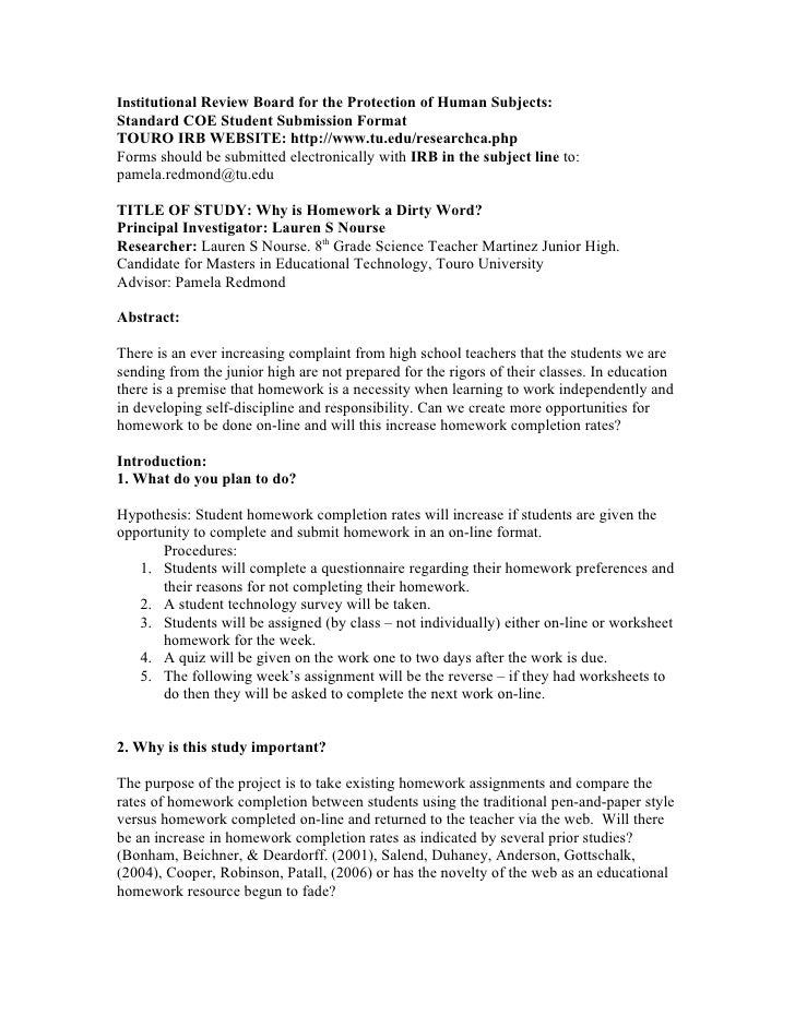 Institutional Review Board for the Protection of Human Subjects:Standard COE Student Submission FormatTOURO IRB WEBSITE: h...