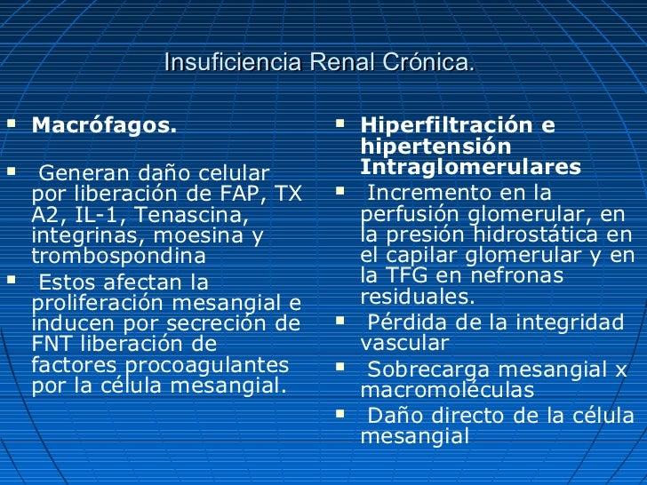 Insuficiencia Renal Crónica.   Macrófagos.                    Hiperfiltración e                                    hiper...