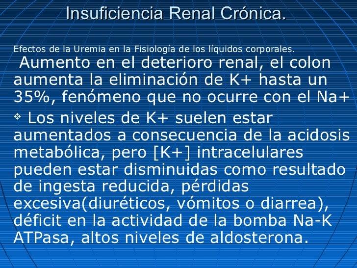 Insuficiencia Renal Crónica.Efectos de la Uremia en la Fisiología de los líquidos corporales. Aumento en el deterioro rena...