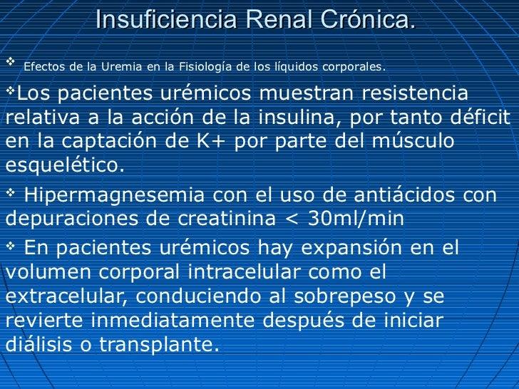 Insuficiencia Renal Crónica. Efectos de la Uremia en la Fisiología de los líquidos corporales.Los pacientes urémicos mue...