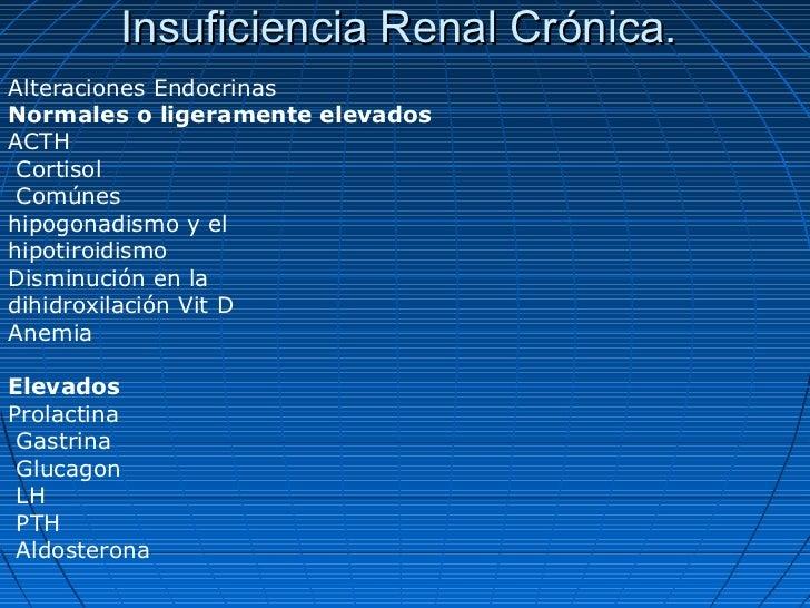 Insuficiencia Renal Crónica.Alteraciones EndocrinasNormales o ligeramente elevadosACTH Cortisol Comúneshipogonadismo y elh...