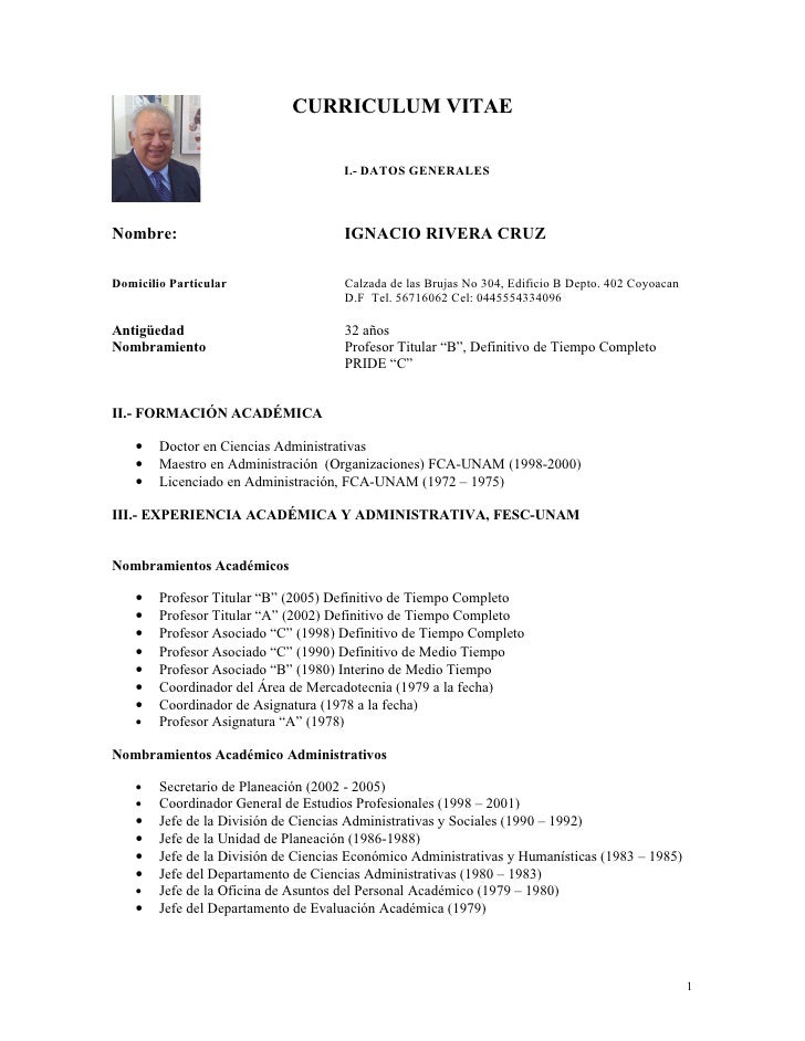Resumen Curricular Dr Rivera