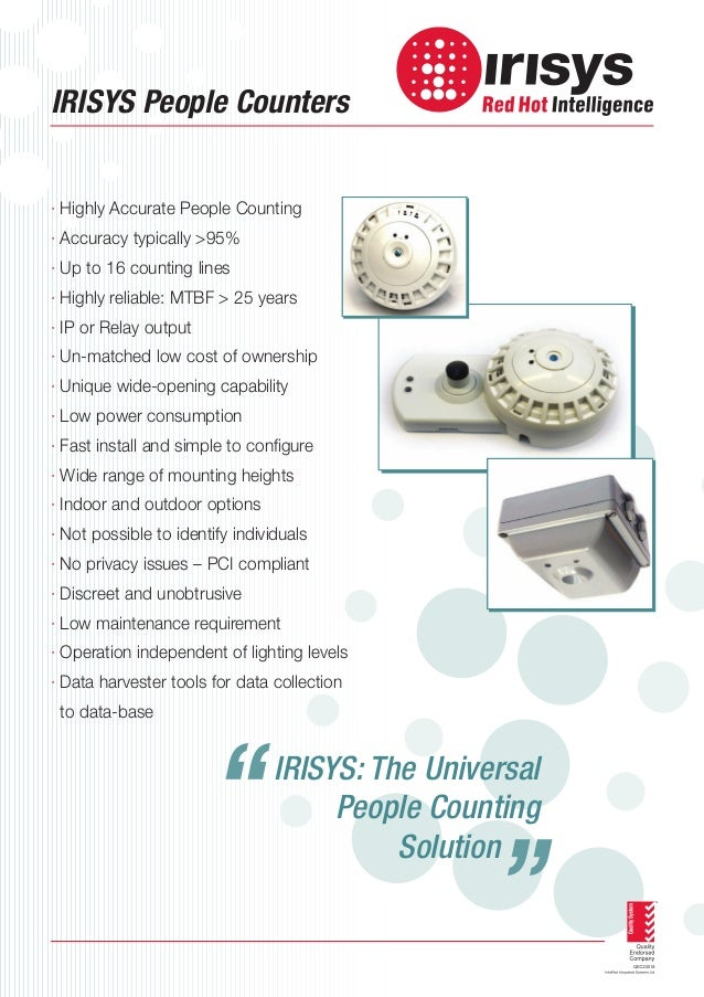 IRISYS People Counters  · Highly Accurate People Counting · Accuracy typically >95% · Up to 16 counting lines · Highly rel...