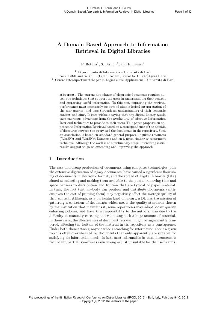 F. Rotella, S. Ferilli, and F. Leuzzi                            A Domain Based Approach to Information Retrieval in Digit...