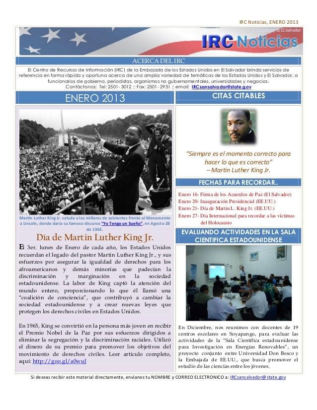 IRC Noticias, ENERO 2013                                                          ACERCA DEL IRC    El Centro de Recursos ...