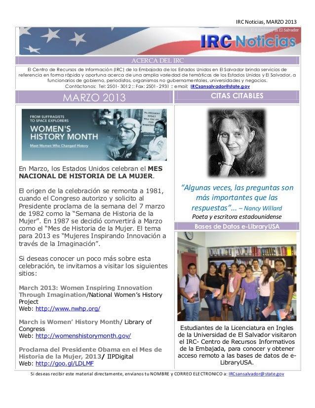 IRC Noticias, MARZO 2013                                                 ACERCA DEL IRC    El Centro de Recursos de Inform...
