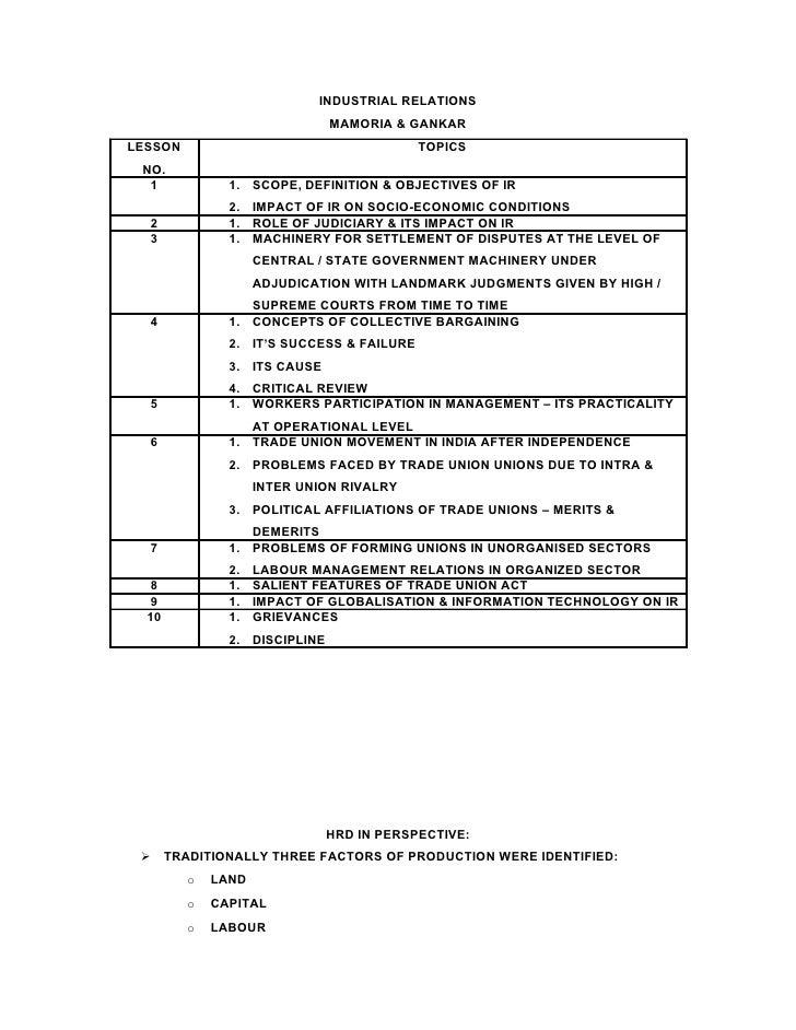 INDUSTRIAL RELATIONS                                MAMORIA & GANKAR LESSON                                     TOPICS  NO...