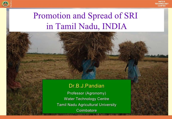 Dr.B.J.Pandian Professor (Agronomy) Water Technology Centre Tamil Nadu Agricultural University Coimbatore Promotion and Sp...