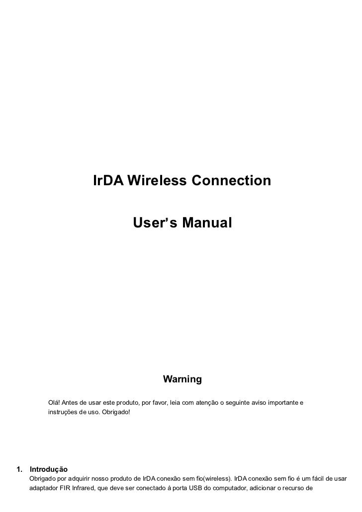 IrDA Wireless Connection                                      User' s Manual                                              ...