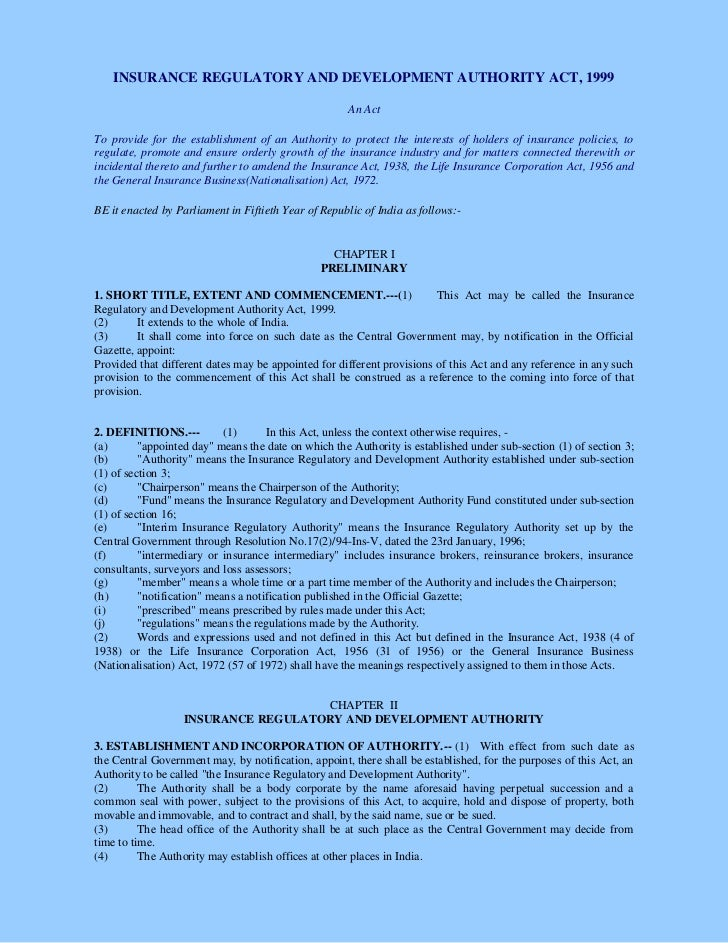 INSURANCE REGULATORY AND DEVELOPMENT AUTHORITY ACT, 1999                                                      An ActTo pro...