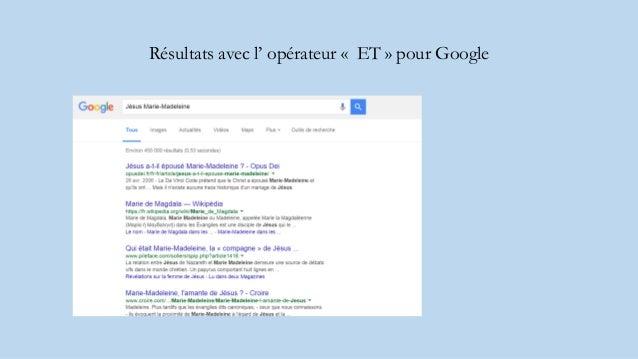 Résultats avec l' opérateur « ET » pour Google