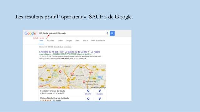 Les résultats pour l' opérateur « SAUF » de Google.