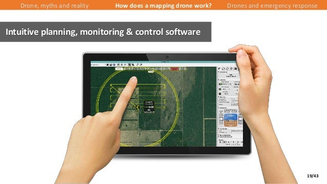 19/43 Intuitive planning, monitoring & control software Drone, myths and reality How does a mapping drone work? Drones and...