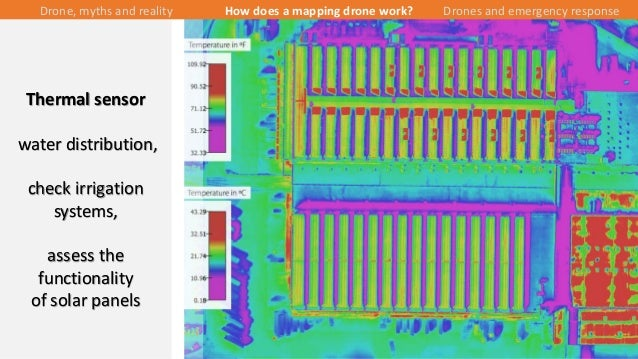 23/43 Thermal sensor water distribution, check irrigation systems, assess the functionality of solar panels Drone, myths a...