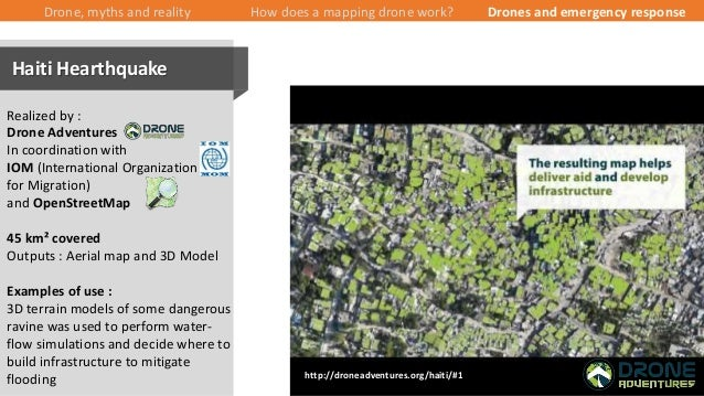 35/43 Drone, myths and reality How does a mapping drone work? Drones and emergency response Realized by : Drone Adventures...
