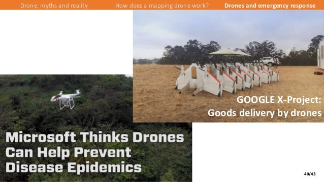40/43 Drone, myths and reality How does a mapping drone work? Drones and emergency response GOOGLE X-Project: Goods delive...