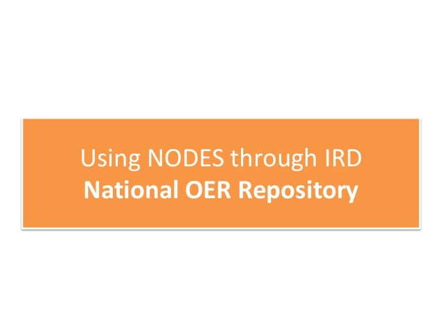 Using NODES through IRD Sharing Educational Metadata