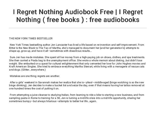 I Regret Nothing Audiobook Free | I Regret Nothing ( free books ) : …