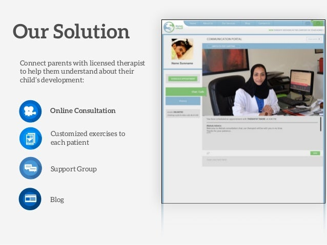 Our Solution Connect parents with licensed therapist to help them understand about their child's development: Online Consu...