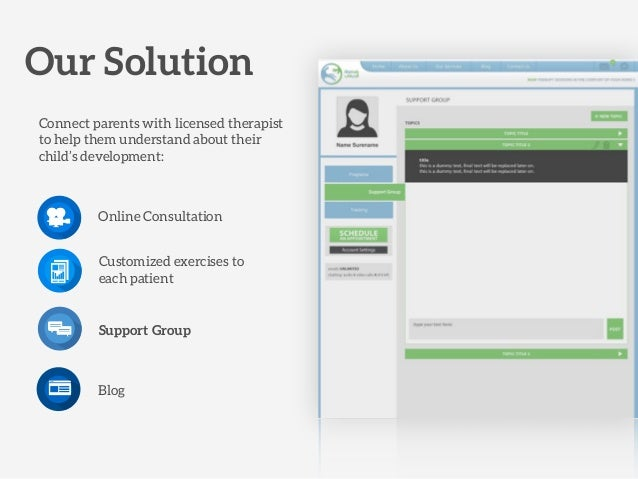 Online Consultation Support Group Customized exercises to each patient Blog Our Solution Connect parents with licensed the...