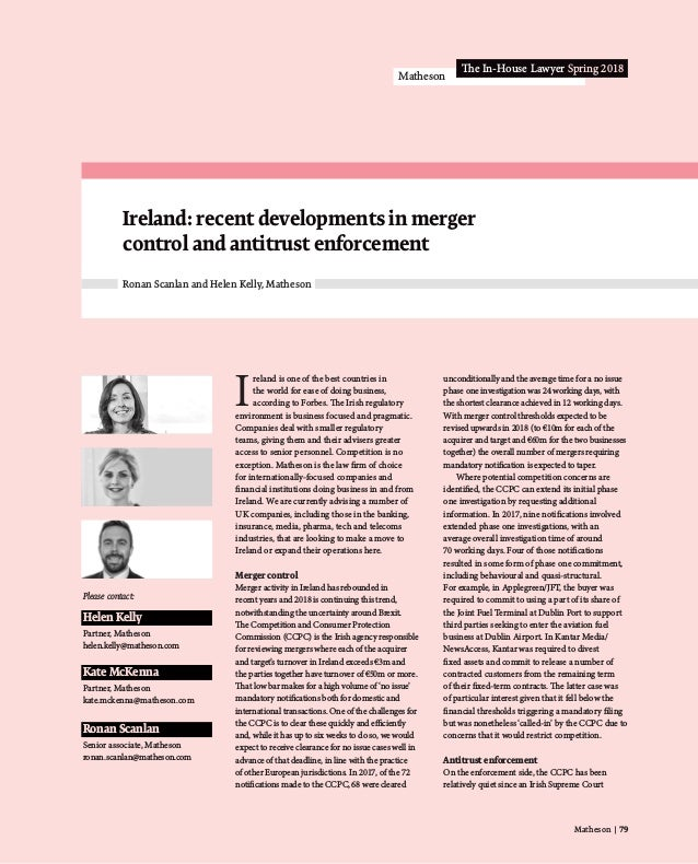 Matheson | 79 Matheson The In-House Lawyer Spring 2018 I reland is one of the best countries in the world for ease of doin...