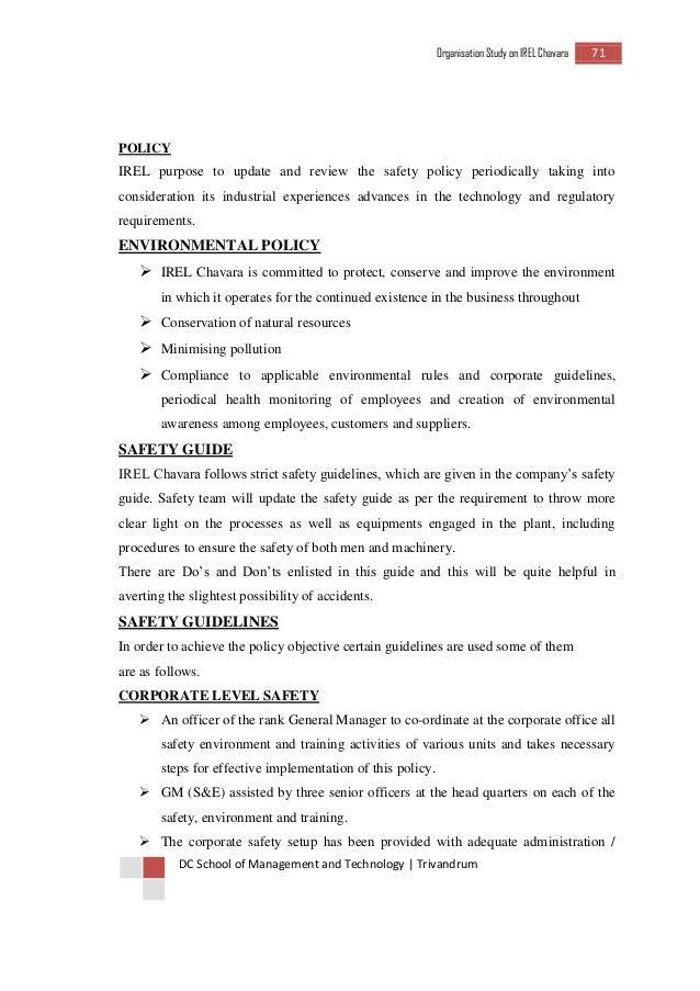 IREL ORGANISATION STUDY