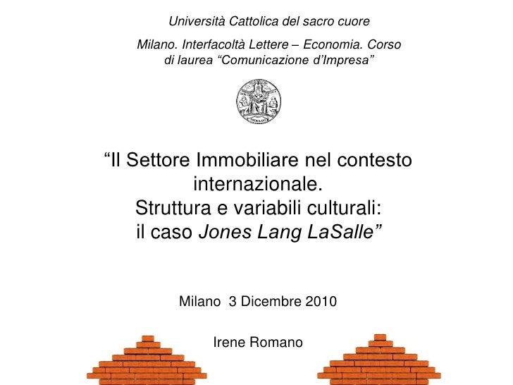 """Università Cattolica del sacro cuore   Milano. Interfacoltà Lettere – Economia. Corso        di laurea """"Comunicazione d'Im..."""