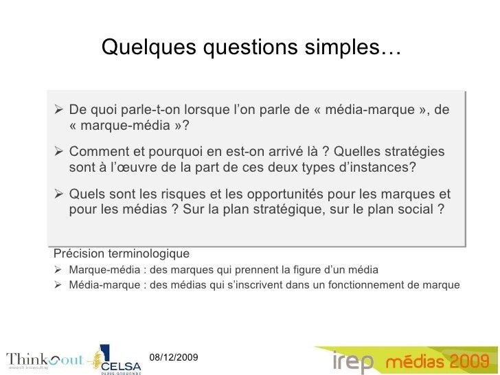 Media-marque, Marque-media, séminaire Irep 2009 Slide 2