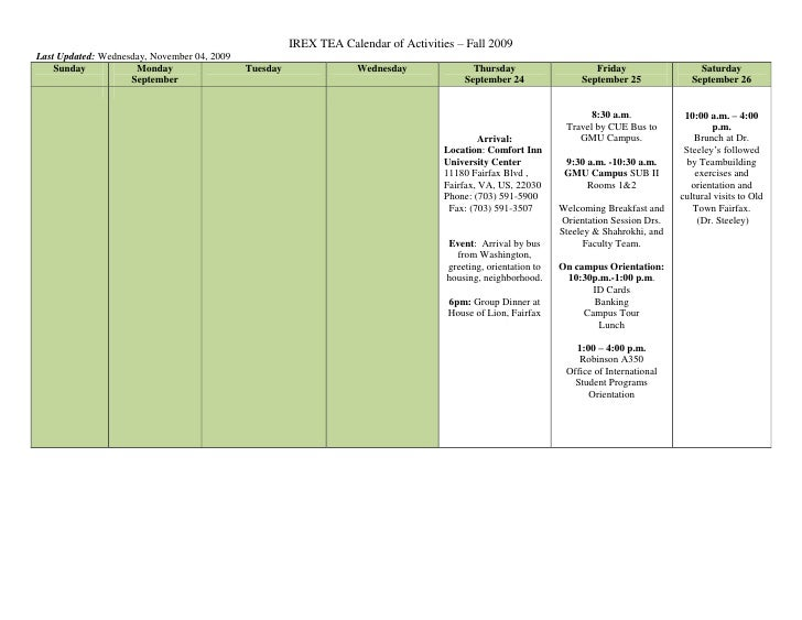 "IREX TEA Calendar of Activities – Fall 2009<br />Last Updated:  DATE @ "" dddd, MMMM dd, yyyy""  Wednesday, November 04, 200..."
